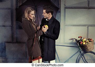Fine picture of attractive couple - Fine portrait of...