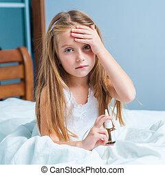 little girl in runny nos - little girl in runny nose bed at...
