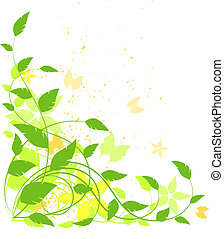 Vector grunge floral background, green, yellow, orange....