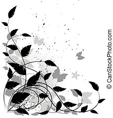 Vector grunge floral background, black and white Isolated on...