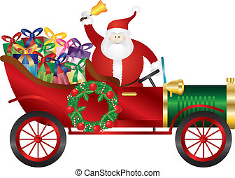 Santa Claus on Vintage Car Delivering Presents Illustration...