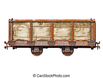 Vintage car for the narrow-gauge railway on white background...