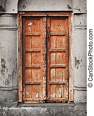 Old wooden door - Indian architecture - Old grunge wooden...