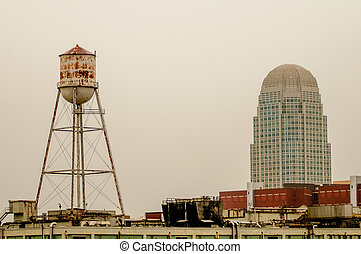winston salem skyline - A view of downtown Winston-Salem,...