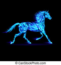 Fire horse - Blue fire horse in motion on black background
