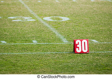 football field 30 twenty yard line marker
