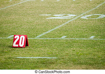 football field 20 twenty yard line marker