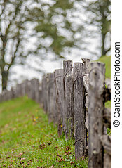 Rustic home made split rail fence in the mountains of North...