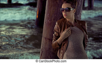 Businesswoman with huge sunglasses - Businesswoman and the...