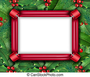 Winter Holiday Frame - Winter holiday frame with a red...