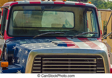 usa construction vehicle - a construction vehicle wrapped in...