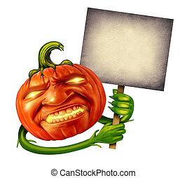 Halloween Pumpkin Head - Pumpkin head character with human...