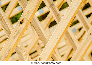 wood stud construction - wooden structure of a new home roof