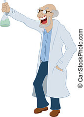 Mad scientist - Cartoon mad scientist on the white...