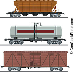 Collection of waggons - vector image of collection of...