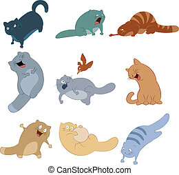 Collection of cat icons - Vector image of collection of cat...