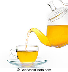 Glass teapot and cup of tea isolated