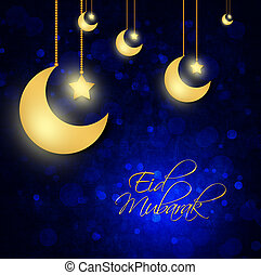abstract background for eid mubarak festival - dark blue...