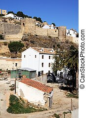Restored watermill, Antequera. - View of the castle and...
