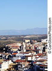 White town, Loja, Andalusia. - View of the town and Church...