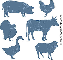 Farm animals, vector silhouettes with grunge effect