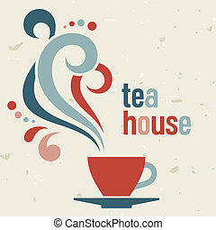 Tea house card  in old style, vector template