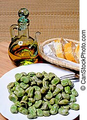 Broad beans in olive oil tapas. - Broad beans in olive oil...