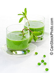 green pea soup cream with mint