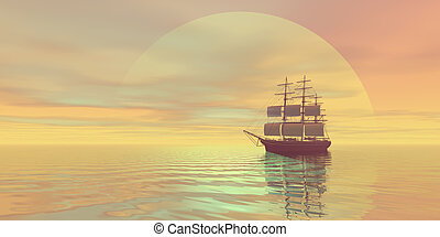 SAFFRON SKIES - A clipper ship sails on golden seas.