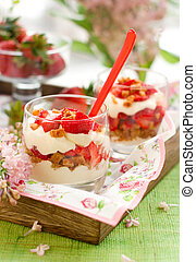 Strawberry and mascarpone trifle in  glasses