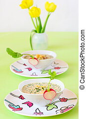 cold soup with vegetables and meat - summer cold soup...