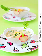 summer cold soup okroshka with vegetables, meat and eggs