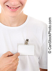 Teenager shows his Badge - Happy Teenager shows blank Badge...