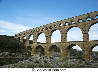 The Pont du Gard,Roman aqueduct - The Pont du Gard, ancient...