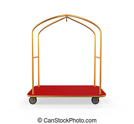 Hotel Baggage Trolley isolated on white background 3D render...