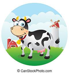 Happy Cow in Farmland