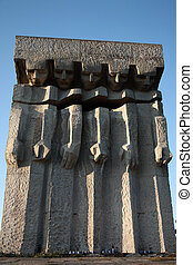 Huge granite monument at the former Plaszow concentration...