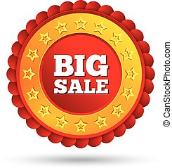 Vector big sale red label with stars.