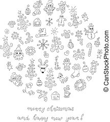 Doodle Christmas elements - The large collection of cute...