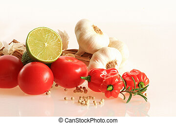 Habanero, tomato, lime and garlic - Close up image of...
