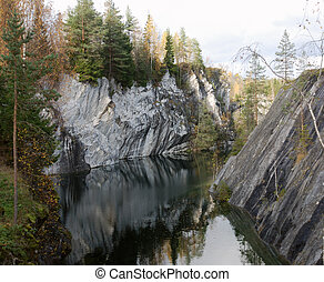 marble quarry - a beautiful view down submerged marble...