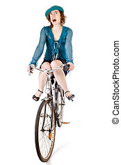 funny girl on bicycle