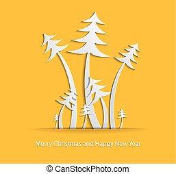 Abstract Christmas background with paper christmas trees