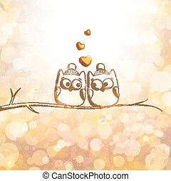 card with owls - christmas card with hand drawn owls