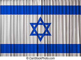 Israel flag on curtain