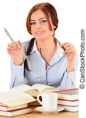 Young woman reading a book. Female student learning.