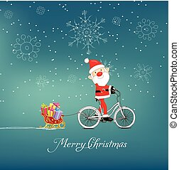 cute santa claus on bicycle delivering christmas gifts...