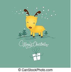 merry christmas card with christmas deer