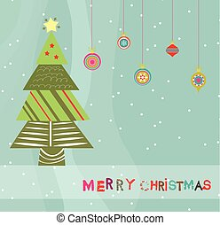 merry christmas card with christmas trees