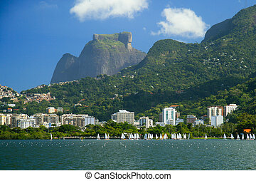Pedra da Gavea seen from the Lago Rodrigo de Freitas, in Rio...